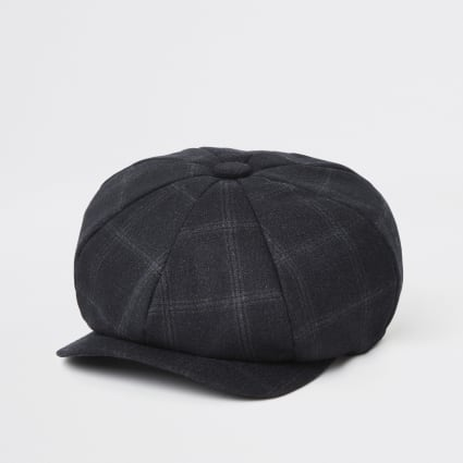 Navy check baker boy cap