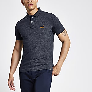 Superdry – Polo bleu marine à logo orange