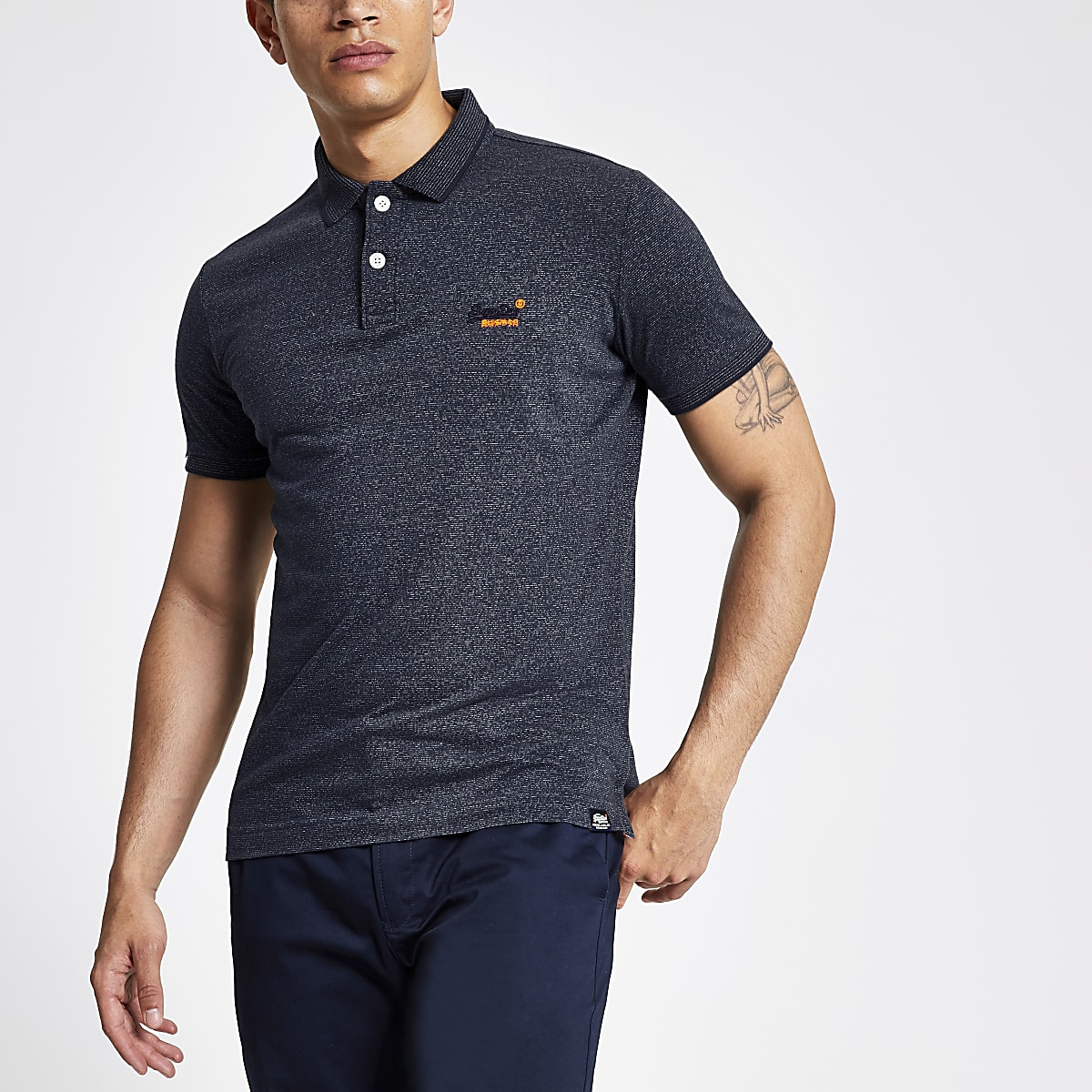 Superdry navy orange logo polo shirt