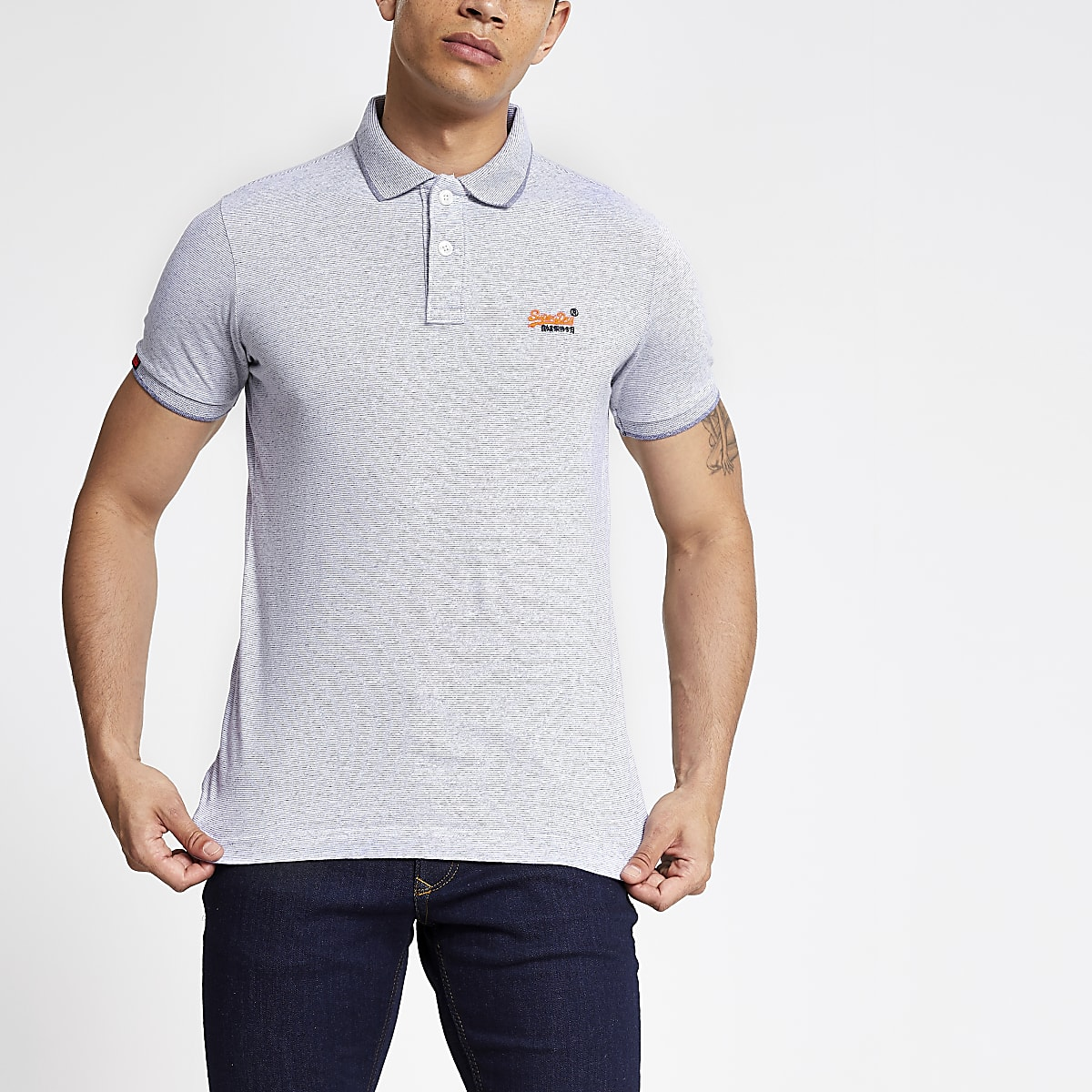 Superdry purple marl polo shirt