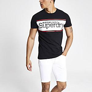 Superdry – Schwarzes T-Shirt mit Logo-Print