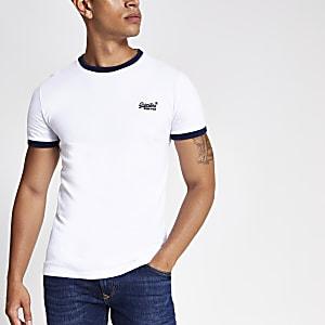 Superdry – Cali – Weißes Ringer-T-Shirt