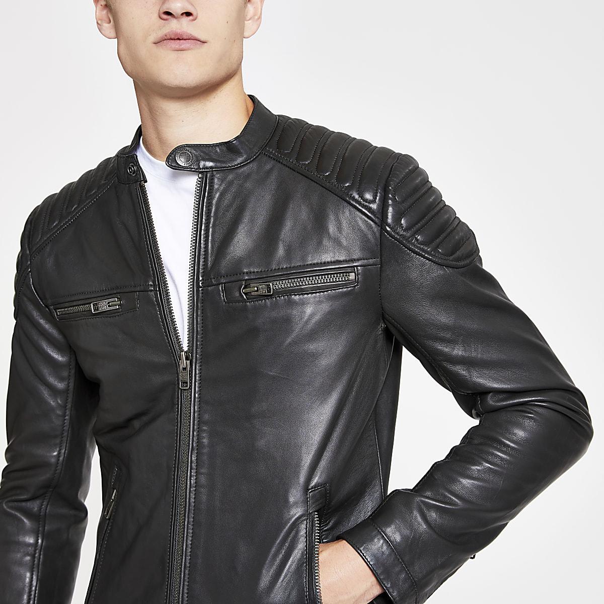 Superdry black leather jacket