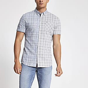 Grey slim fit check button-down collar shirt