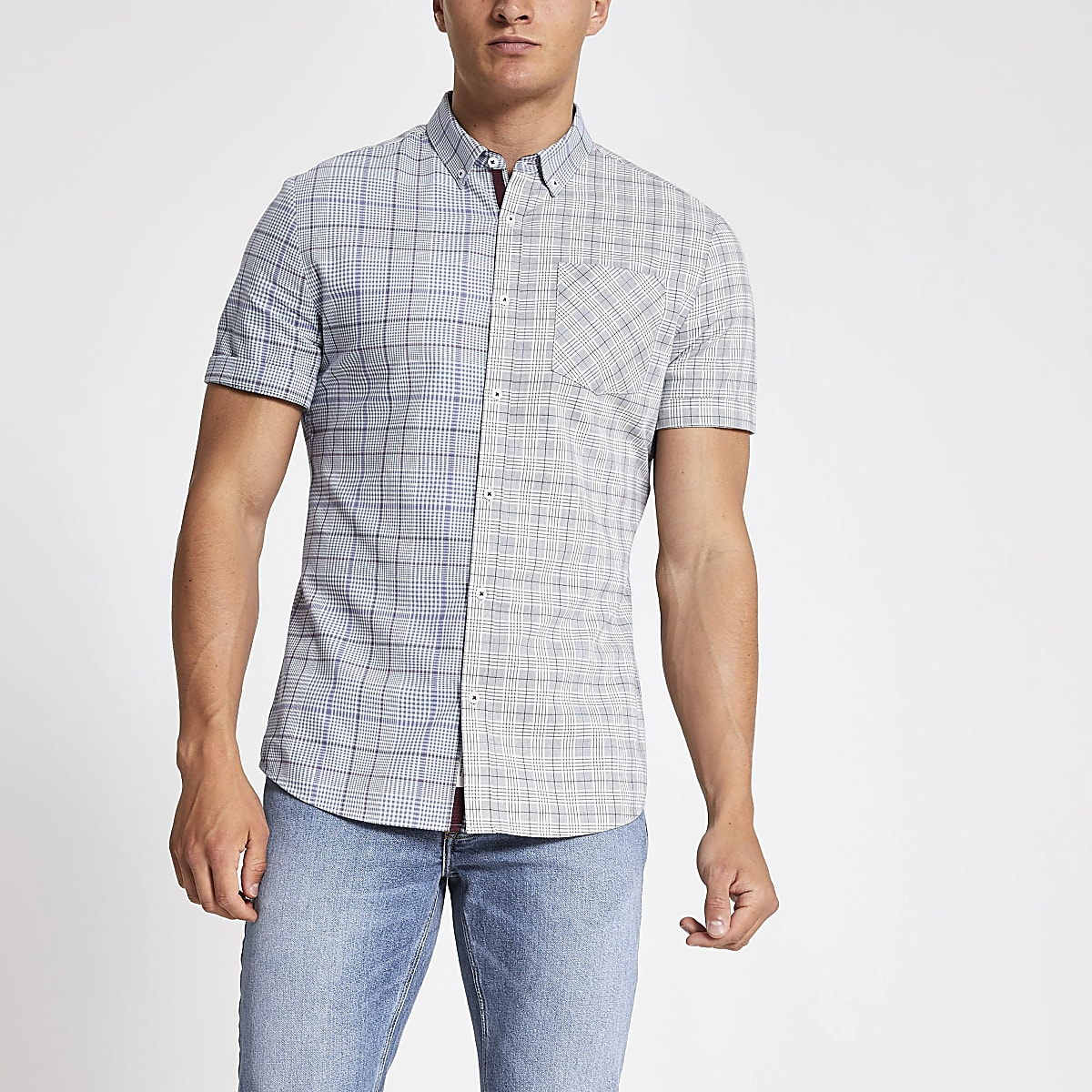 Grey check short sleeve slim fit shirt