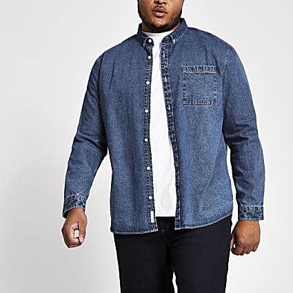 Big and Tall mid blue denim shirt