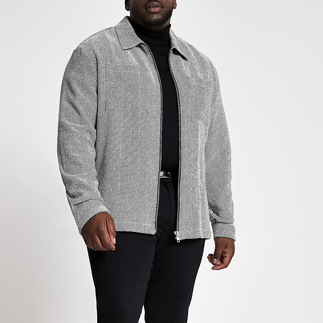 Big and Tall grey herringbone overshirt