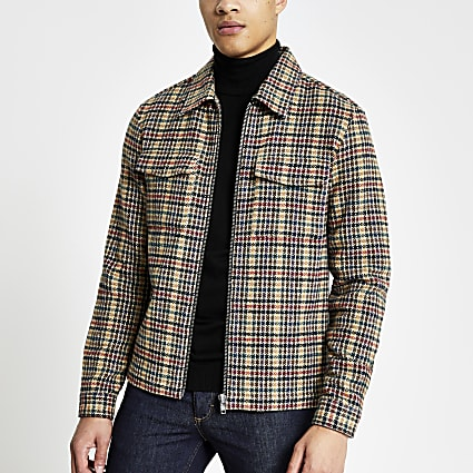 Stone dogtooth zip through long sleeve shirt