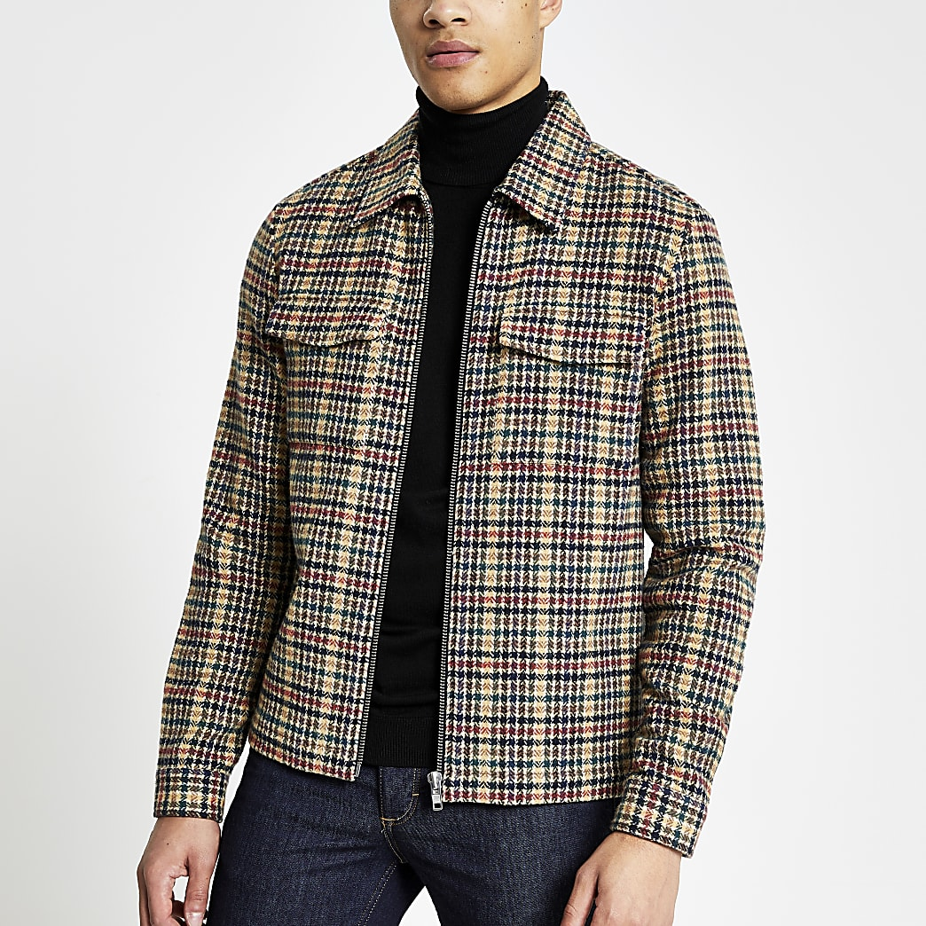 Stone dogtooth regular fit overshirt