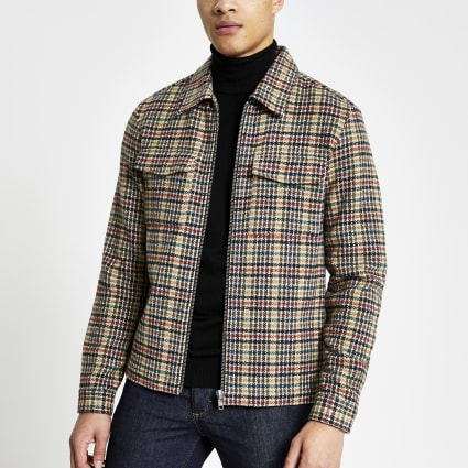 Stone dogtooth zip regular fit overshirt