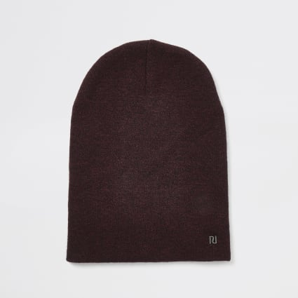 Burgundy RI slouch beanie hat