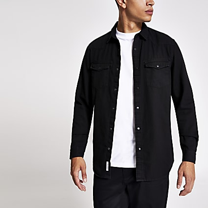 Black long sleeve double pocket denim shirt