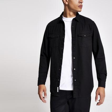 Black double pocket regular fit denim shirt