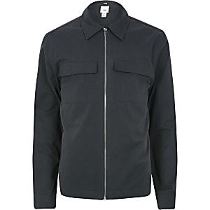 Chemise bleu marine zippée à manches longues