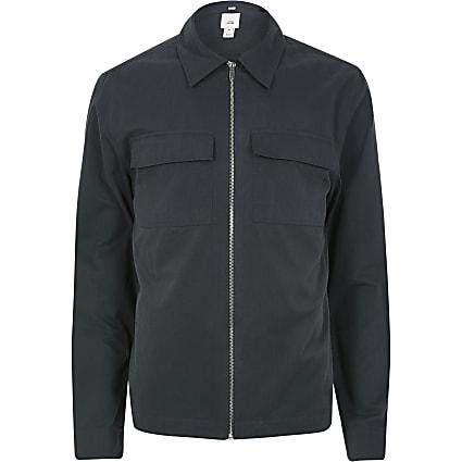 Navy zip through long sleeve overshirt
