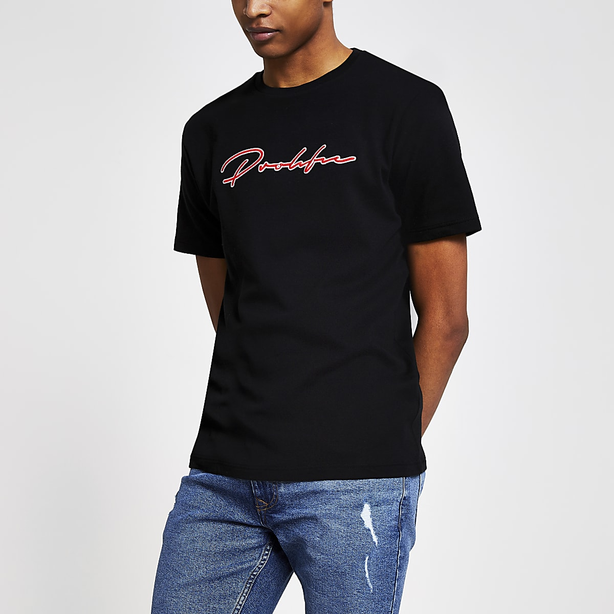 Black 'Prolific' embroidered slim fit T-shirt