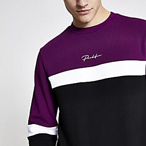 Paars slim-fit sweatshirt met kleurvlakken en prolific-print