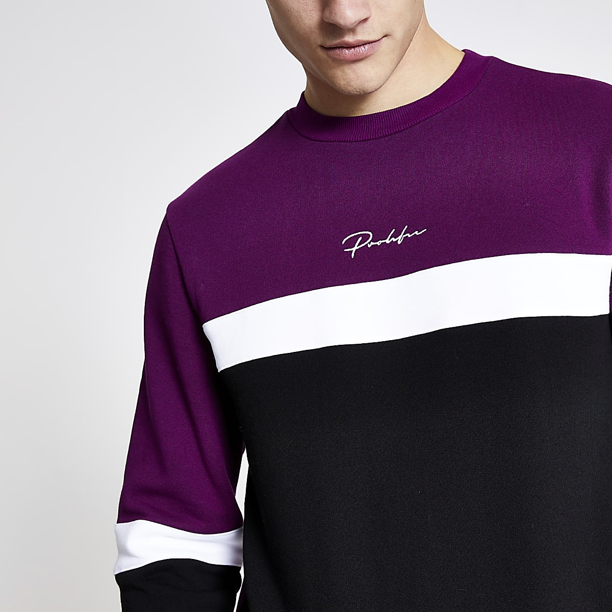 Purple Prolific block slim fit sweatshirt