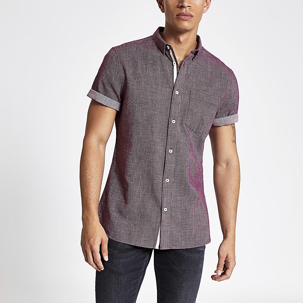 Bordeauxrood slim-fit overhemd met textuur en korte mouwen