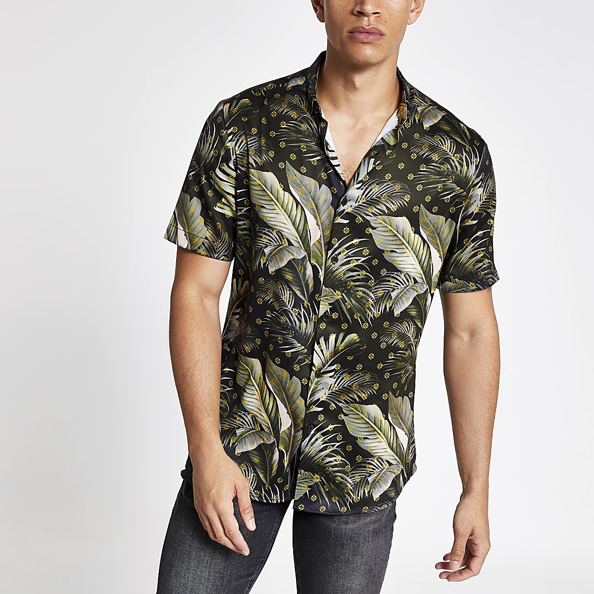 Navy palm tree print slim fit shirt