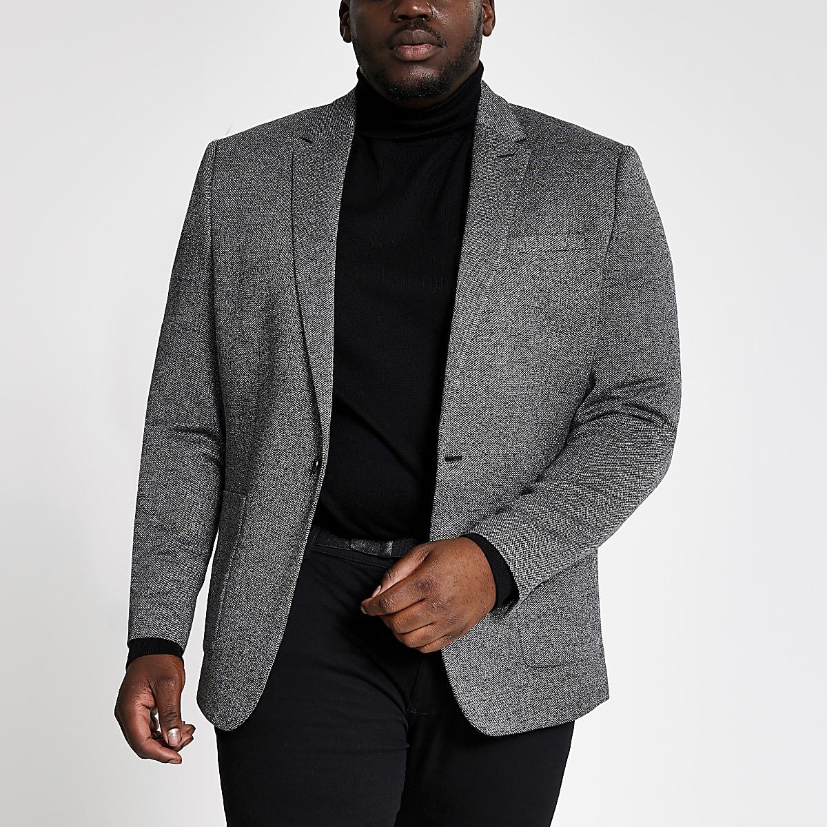 Big and Tall - Grijze blazer met textuur