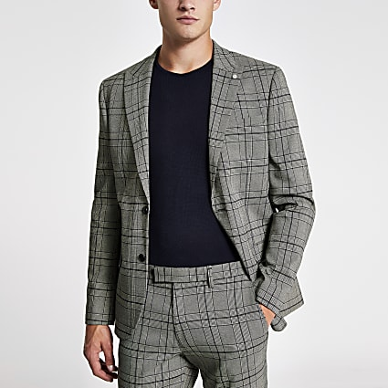 Black check skinny stretch suit jacket