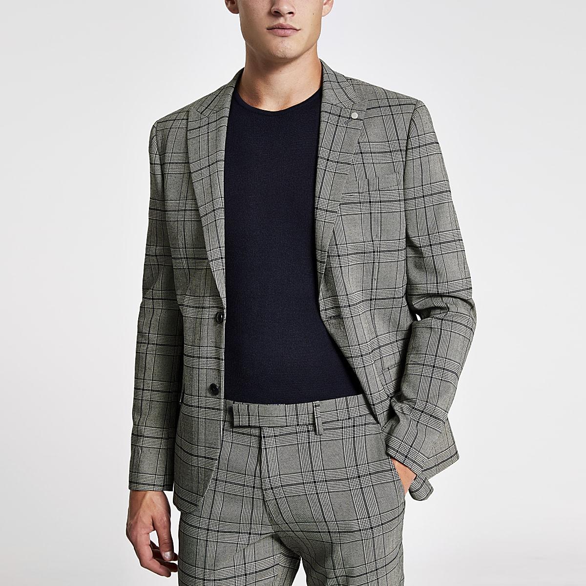 Black check skinny stretch suit jacket