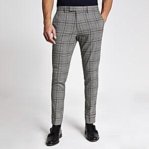 Schwarze Skinny Fit Stretch-Anzughose mit Karomuster