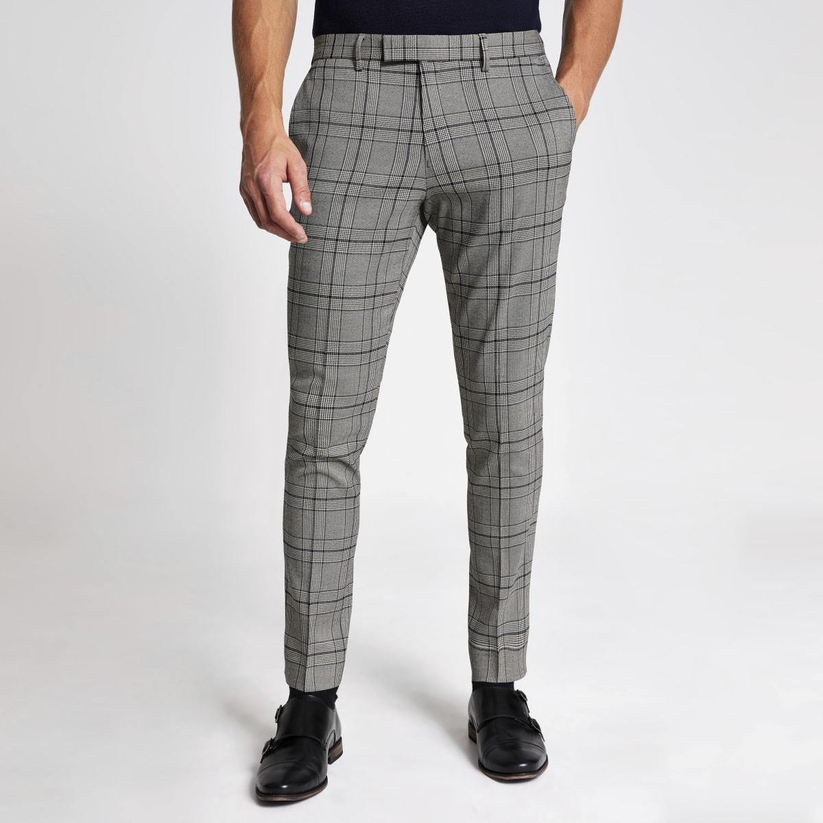 Pantalon de costume skinny noir à carreaux