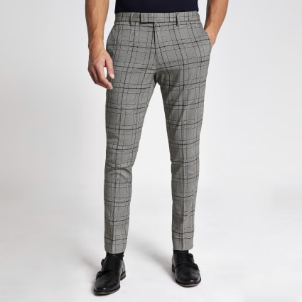 Black check stretch skinny suit trousers