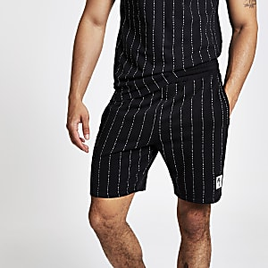 Black 'Maison Riviera' slim fit jersey shorts