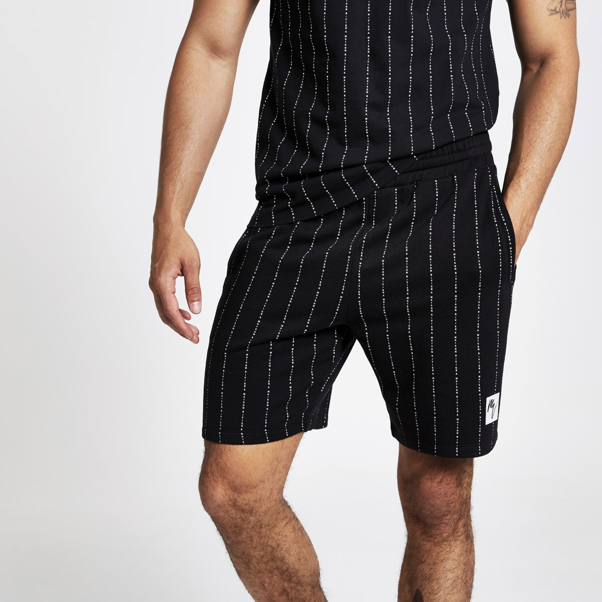 Short en jersey slim «Maison Riviera» noir