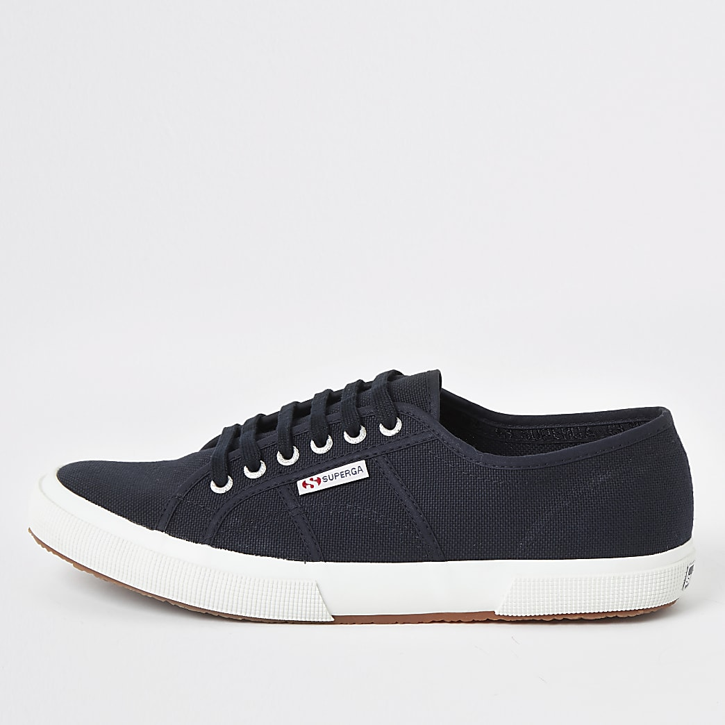 Superga navy classic runner trainers