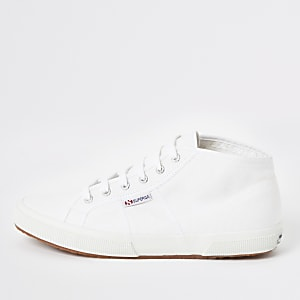 Superga – Weiße, klassische, mittelhohe Sneaker