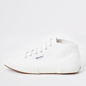 Superga white midtop classic runner sneakers