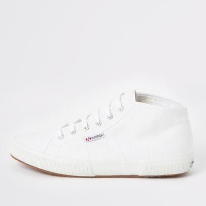 Superga white midtop classic trainers