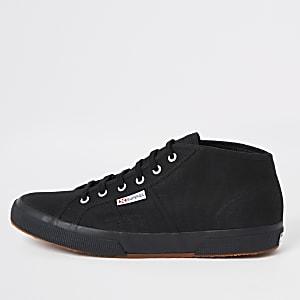 Superga – Schwarze, klassische, mittelhohe Sneaker