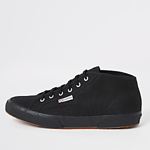 Superga black midtop classic runner sneakers