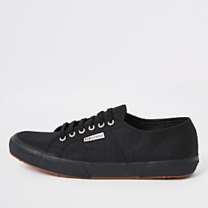Superga black classic gum sole runner trainer