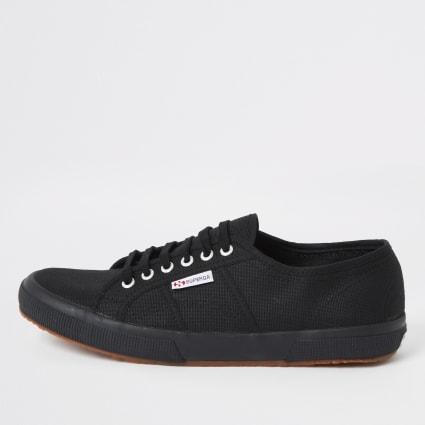 Superga black classic gum sole runner trainer