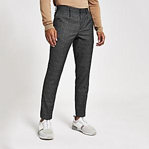 Grijze geruite nette skinny-fit broek