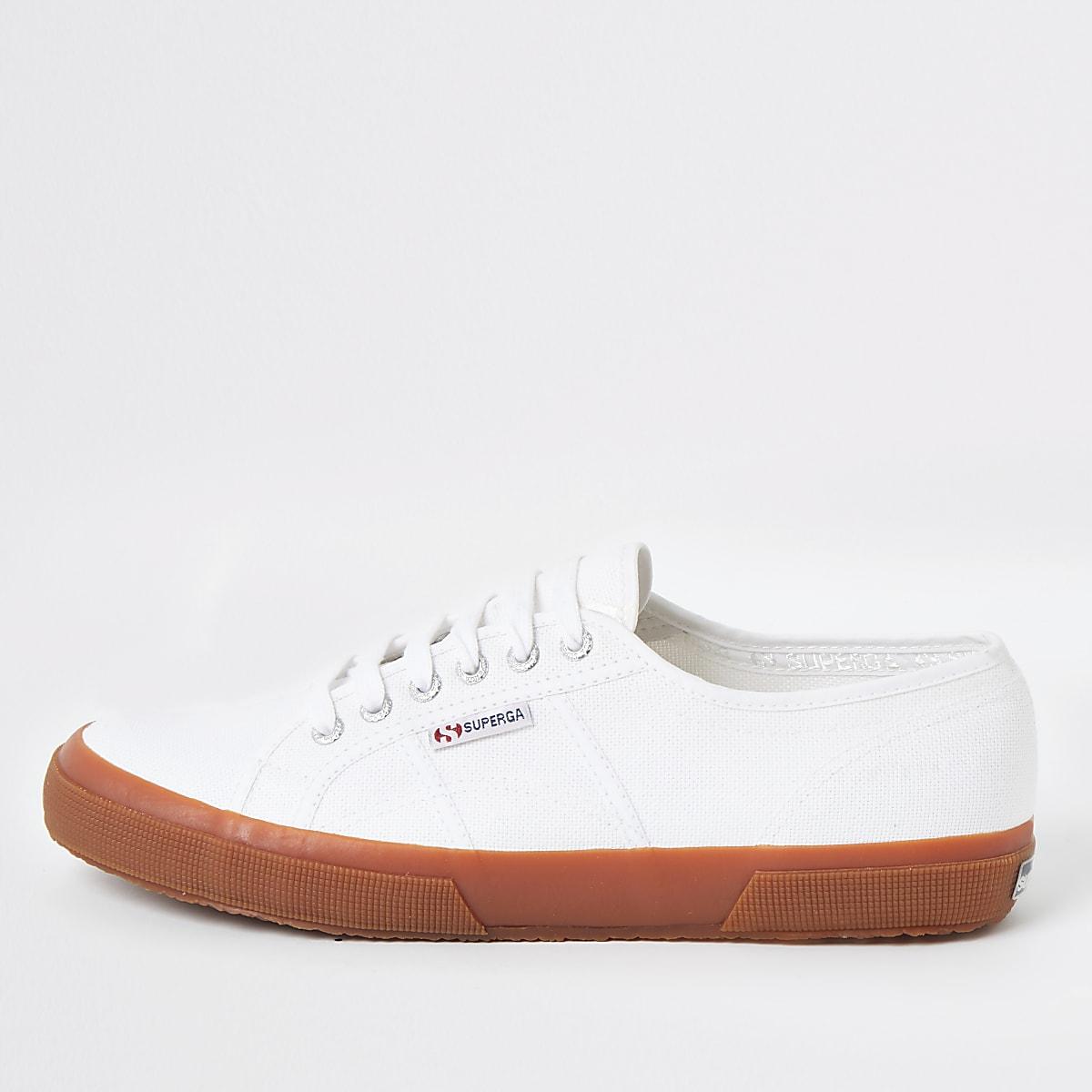 Superga white gum sole runner sneakers