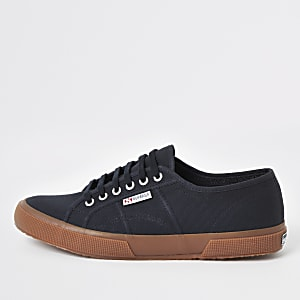 Superga navy classic gum sole runner trainers