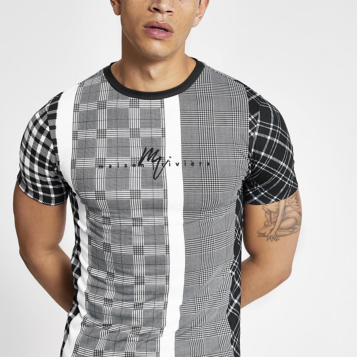 Zwart aansluitend T-shirt met 'Maison Riviera'-print