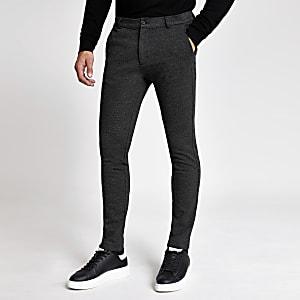 Pantalon skinny texturé gris foncé