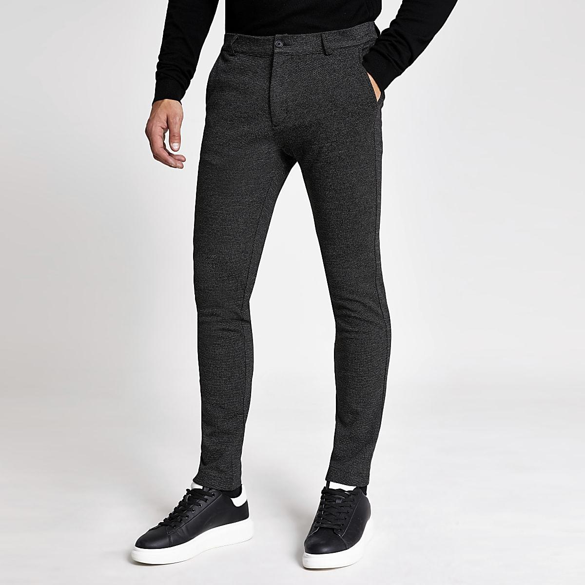Dark grey textured skinny trousers