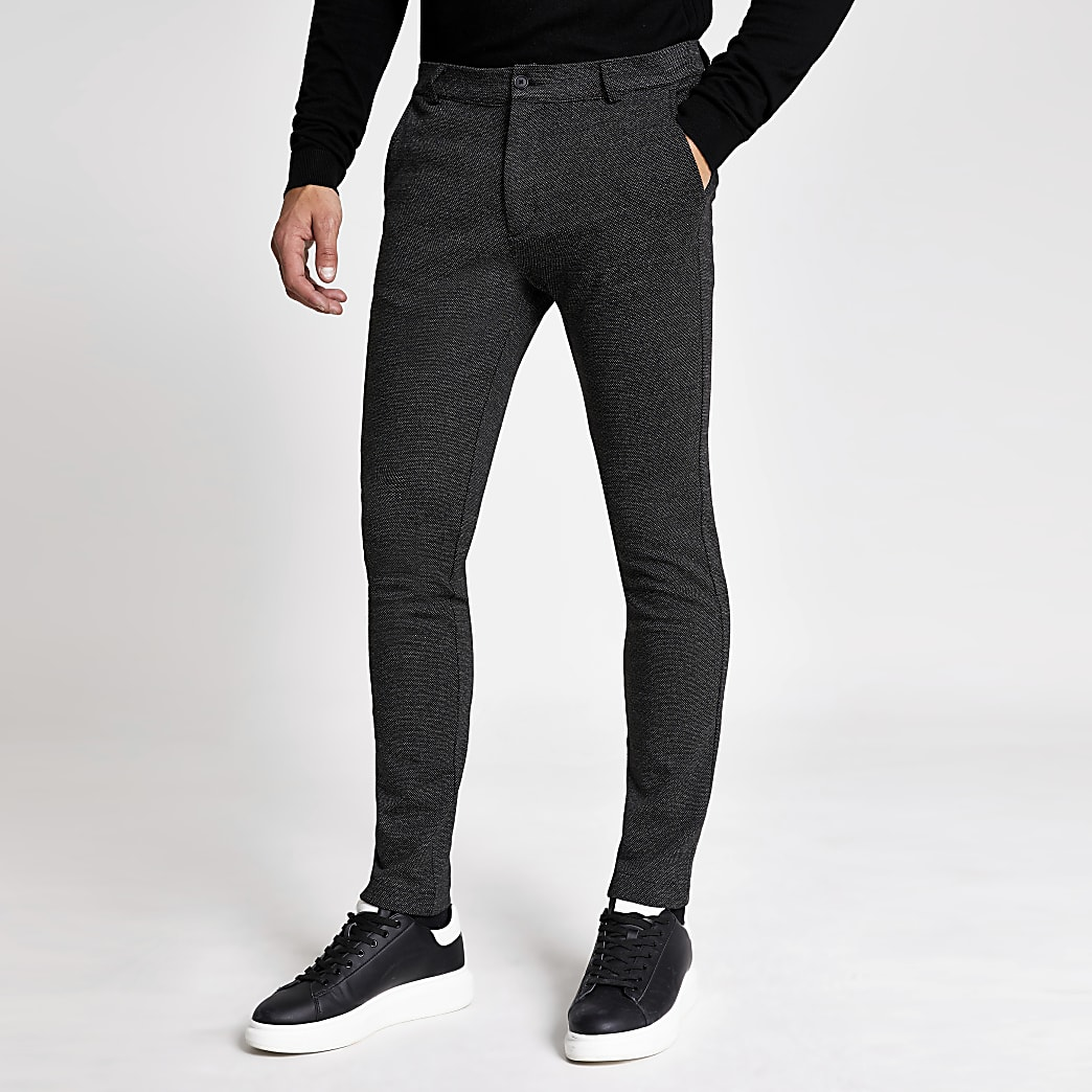 Dark grey textured skinny trousers
