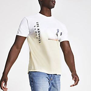 White dip dye slim fit T-shirt