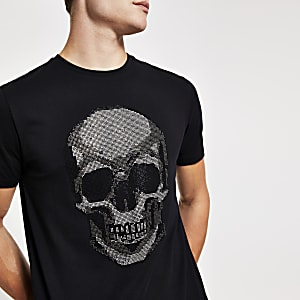 Black rhinestone skull slim fit T-shirt