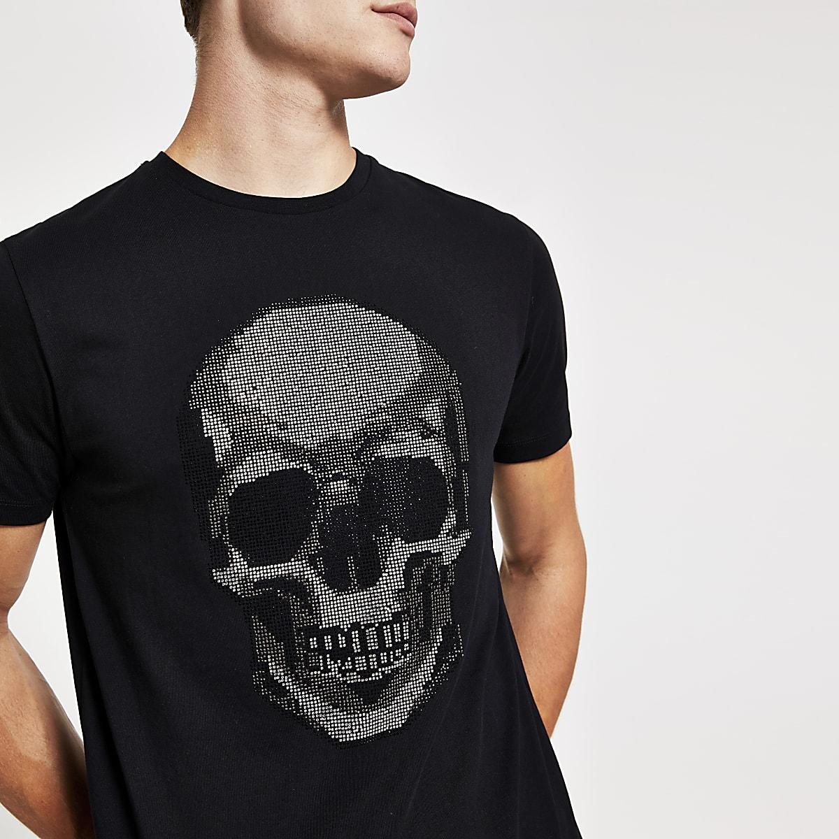 Black diamante skull slim fit T-shirt
